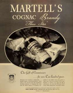 1934 Ad Martells Cognac Brandy Three Star Park Tilford   ORIGINAL