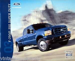 2003 Ford F 250/F 350 Super Duty Pickup Truck new vehicle brochure