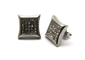 PAVE EARRINGS*B 305S* W/crystal gift box Rhodium & white gold plate