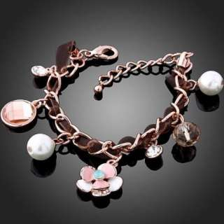 Flower Link Chain Charm Bracelet Rose Gold GP Swarovski Crystal