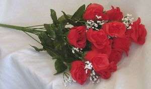 14 Long Stem Roses ~ APPLE RED ~ Silk Wedding Flowers Centerpieces