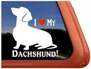 LOVE MY DACHSHUND Weiner Dog High Quality Window Decal Sticker