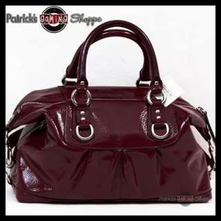 BNWT COACH ASHLEY PATENT LEATHER SATCHEL 15445 DARK RED PURSE BAG NEW
