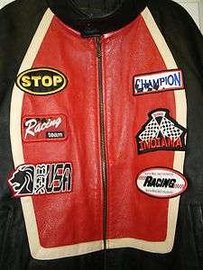 Genuine Leather Biker Motorcycle Black Red Jacket Coat Size 5X