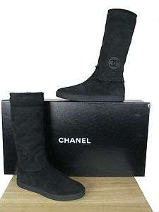 CHANEL Flat Black Quilted Shearling Boots, CC Logo sz 38 NIB
