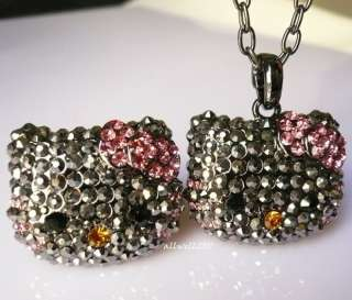 Rare Hello Kitty Ring Necklace set Crystal Bling Black Cool and Cute