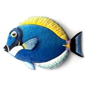 Painted Metal Powder Blue Surgeonfish Tropical Wall Art   Tropical