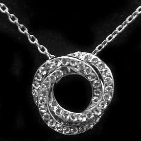Swarovski Clear Crystal ~TRIPLE CIRCLE KNOT~ Necklace