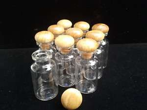 10x15 ml Clear Small Glass Mini Bottles Vials W/Cap Lid