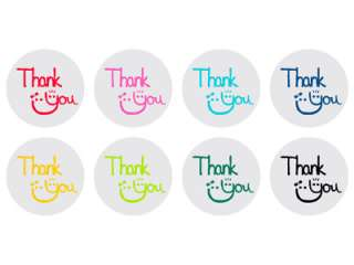 48 Clear Thank You Seals/Stickers, various color print