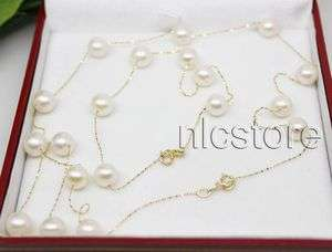 set AAA pearl 14k solid gold chain necklace bracelet