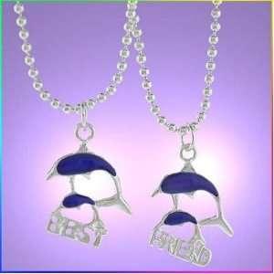 Best Friends. 2 piece Heart Silver Tone Charm Two 20steel Necklace