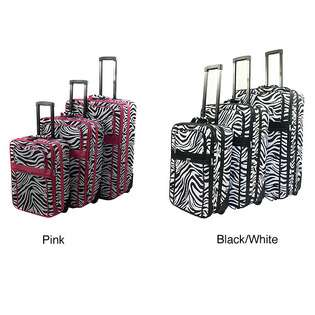 com Zebra Pattern Expandable 3 Piece Upright Luggage Set