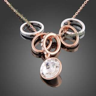18K rose gold Gp Swarovski Crystal new hot necklace N36