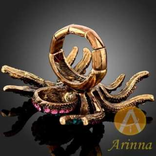 Arinna colorized spider swarovski Crystals gold GP Ring