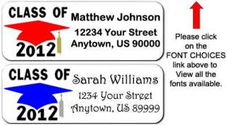 30   Graduation Class of 2012 Cap Themed Return Address Labels