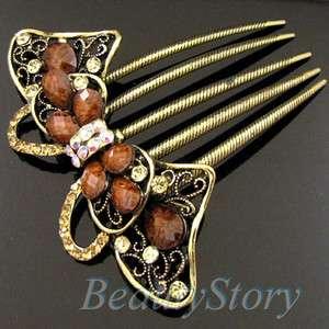 SHIPPING 1pc rhinestone crystal bow tie French twist hair comb