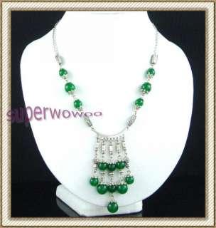 cy023 tibet style tibetan silver jade necklaces