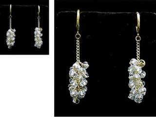 Gold Overlay Blue Topaz Cluster Chandelier Earrings 11.76 ctw.