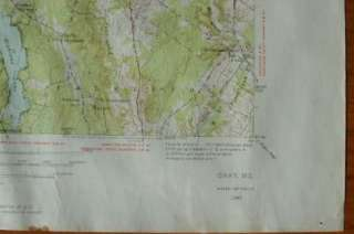GRAY Quad Topo Map Maine ME 1942/1956 Cumberland Windham Sebago Lake