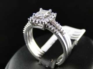 GOLD DIAMOND 3 RING ENGAGEMENT WEDDING BAND BRIDAL TRIO SET