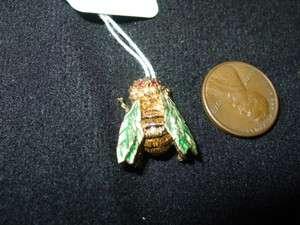 18k Yellow Gold Bee Pin Ruby Eyes & Green Enamel Wingss