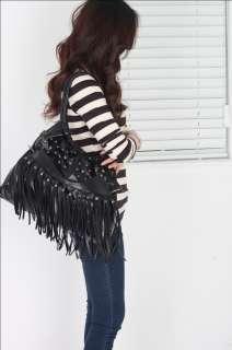 Fashion Women Shoulder Fringe tassel handbag black PU leather punk bag