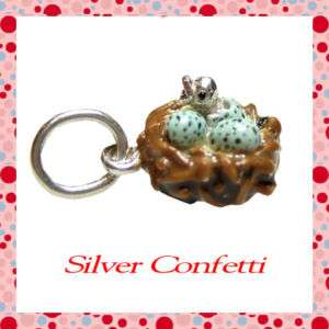 Sterling Silver FABULOUS BIRD NEST Baby Bird BLUE SPECKLED EGGS Charm