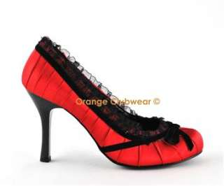 PLEASER Dainty 420 Womens Red Satin High Heels Shoes
