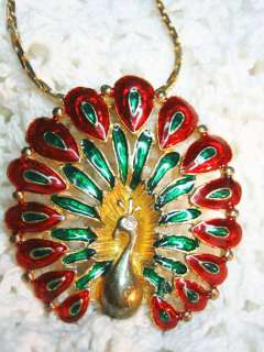 Vtg. Large Enamel Peacock Bird Pendant Rhinestone Eye