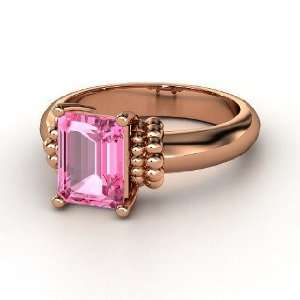 Beluga Ring, Emerald Cut Pink Sapphire 18K Rose Gold Ring Jewelry