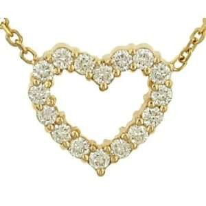 Ladies Cable Chain w/ Pave Diamond Heart Pendant Jewelry