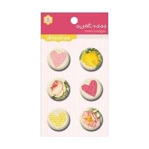 Pink Paislee Sweetness Metal Badges; 3 Items/Order