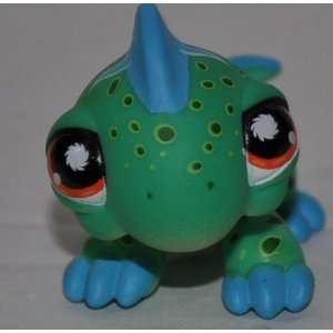 Iguana #906 (Green, Blue Spikes, Orange Eyes, White Triangles, Black