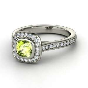 Ring, Cushion Peridot Sterling Silver Ring with Diamond Jewelry