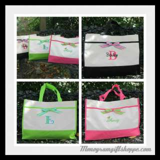 Monogrammed Ribbon Tote Bag Black Lime Pink PERSONALIZED Bridesmaid