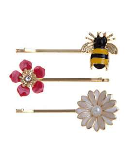 null (Multi Col) 2pk Bee and Flower Hair Slides  250441799  New Look