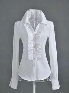 New Womens Boho White OL Falbala Shirt Ruffles long sleeve Shirts