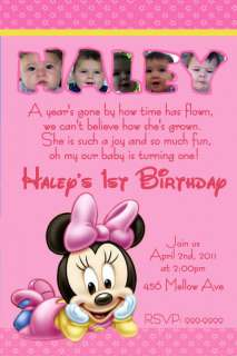 15 Minnie Mouse First Birthday Photo Baby Invitations