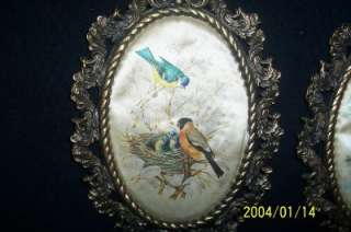 Vintage Ornate Oval Brass Frames with Silk Bird Pictures