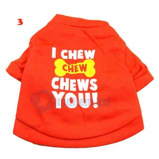 Pet Dog Clothes T Shirt FUNNY PHRASES Type size XS S M