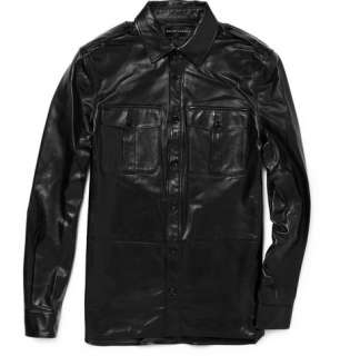 Ralph Lauren Black Label Lightweight Leather Military Style Jacket