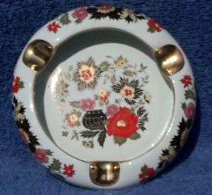 Ceramic Ashtray Istanbul Turkey Floral Desen Seramik Round White