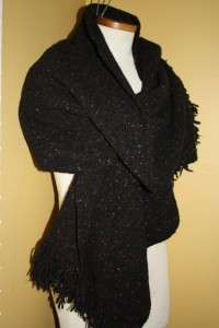 Vtg Wool Wrap Fringe Shawl Womens Oblong Black Speckled J Hill Studio