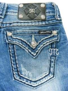 ME Vintage Metalic White Big Thick Pick Stitch Crystal Bootcut Jeans