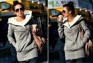 Warm Zip Hoodie Jacket Coat Outerwear Gray w/ faux fur inside