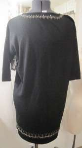 NANETTE LEPORE BLACK SHORT SLEEVE KNIT SWEATER DRESS BEADS SEQUINS SZ