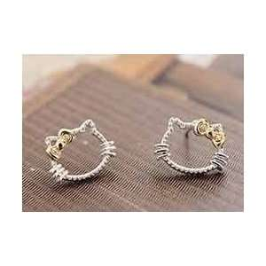 Hello Kitty Silver and Gold Bow Stud Fashion Earrings