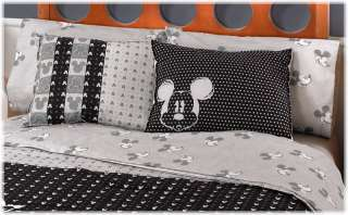 Small Mickey Mouse Gray Black Bedding Sheet Set Full 4 Pieces