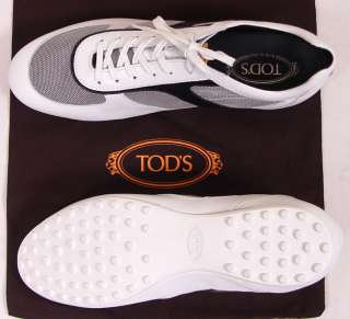 TODS SHOES $445 NAVY/WHITE LOGO STRIPE MESH PEBBLE SOLE TRAINERS 10.5